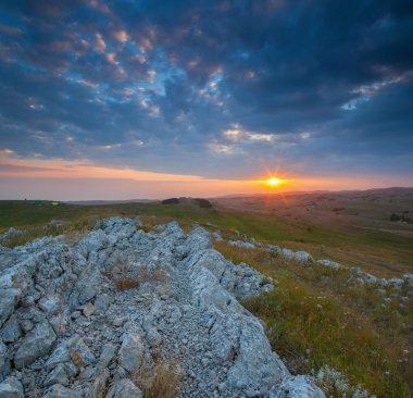Sundown in mountain