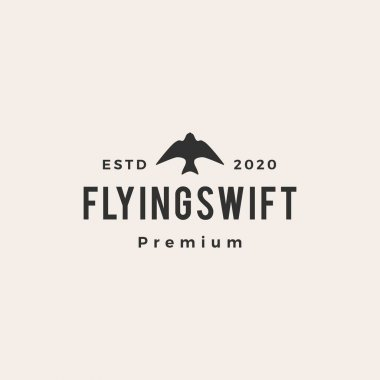 Flying swift bird hipster vintage logo vector icon illustration icon