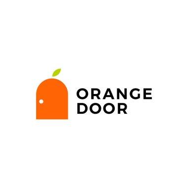 Orange door fruit logo vector icon illustration icon