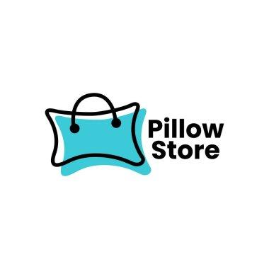 Pillow shop shopping bag logo vector icon illustration icon