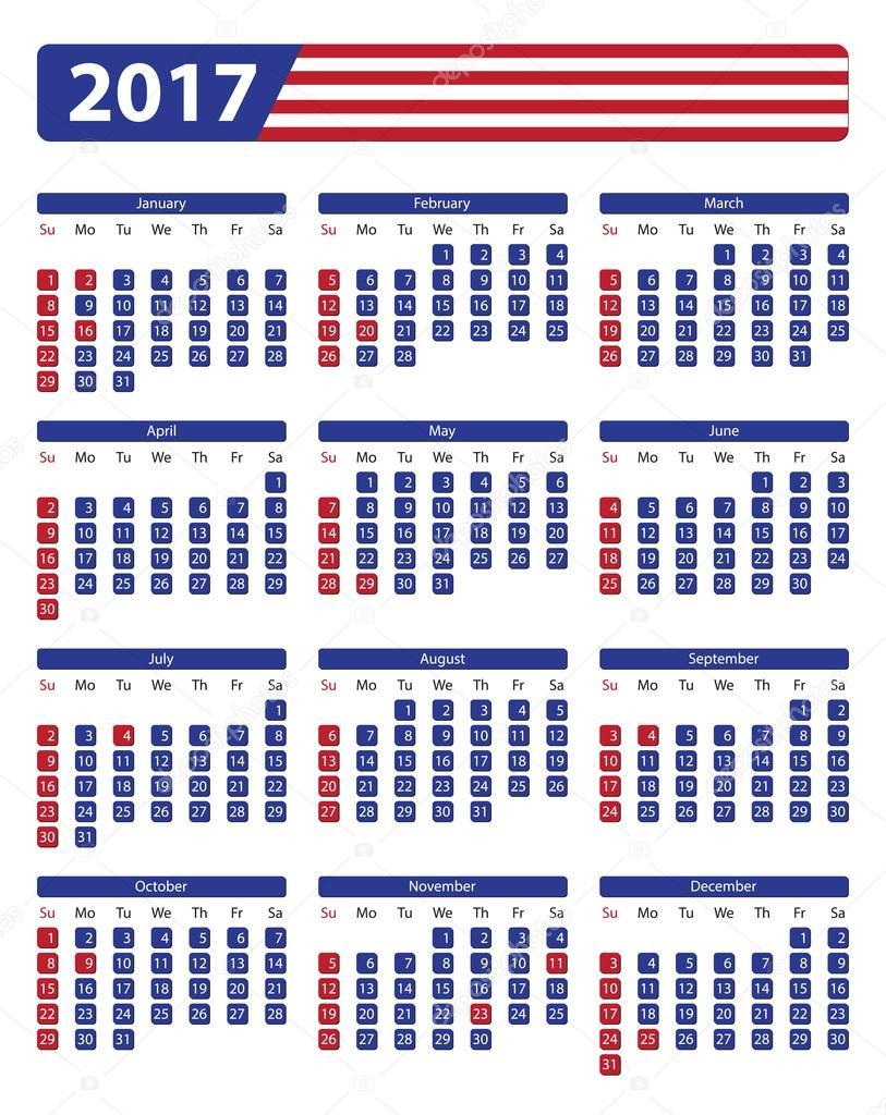 Calendario Con Giorni Festivi.Calendario Usa 2017 Con Giorni Festivi Ufficiali