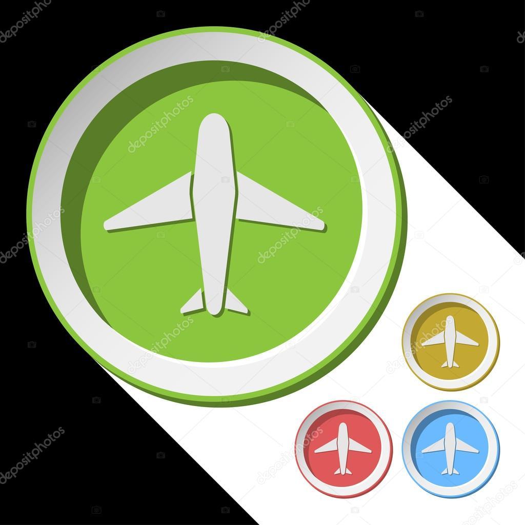 Vector iconos a color con avión — Archivo Imágenes Vectoriales ...
