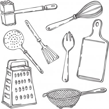 Vector illustration of various kitchen items
