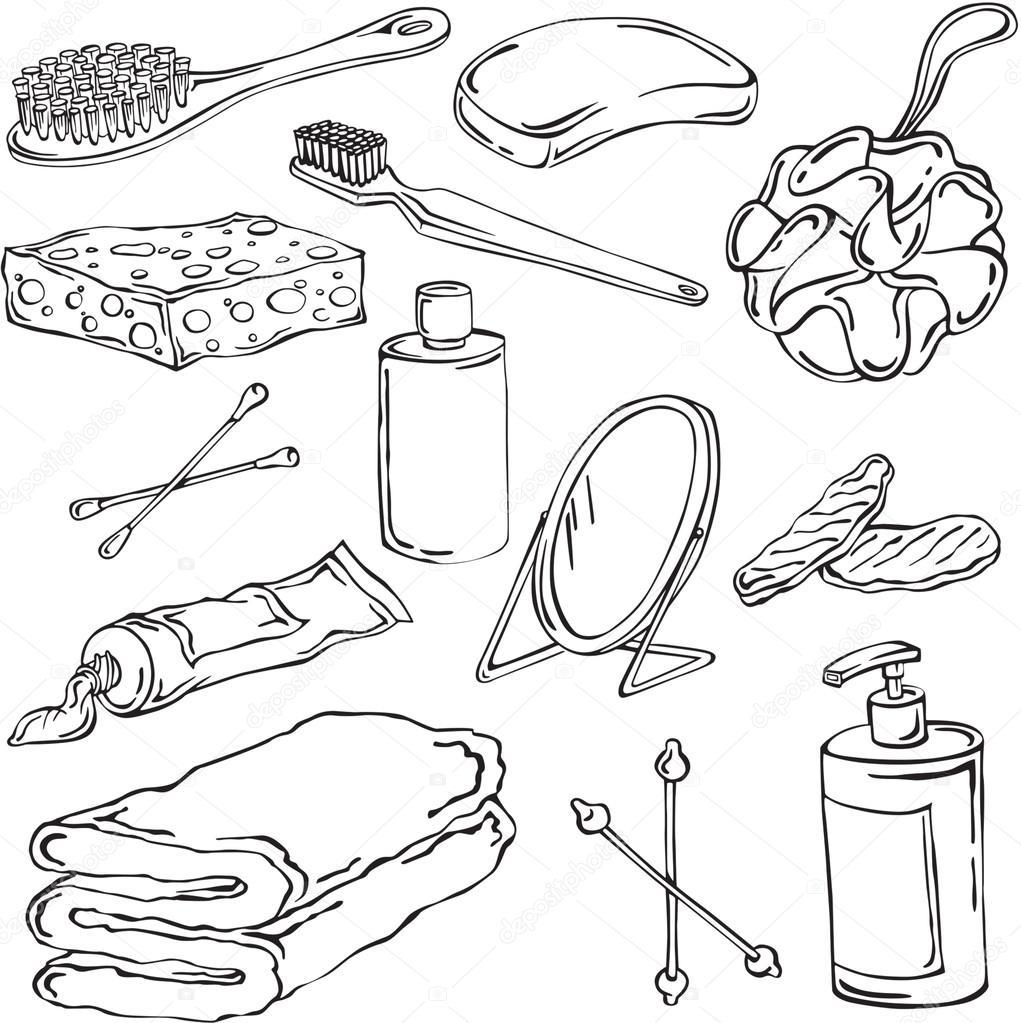 Imágenes Objetos De Higiene Para Colorear Ilustración