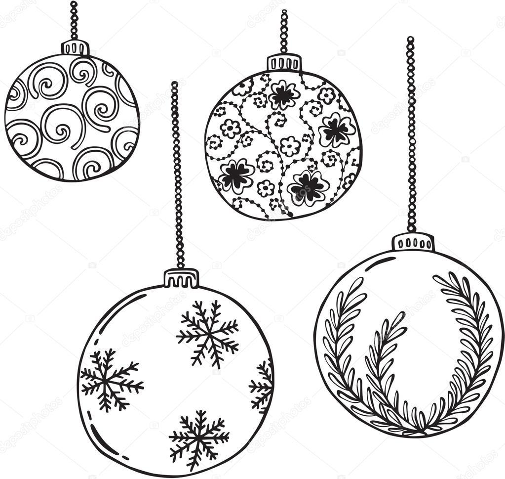 Vector Illustration Of Various Christmas Balls Stock