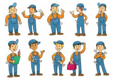 Mechanic cartoon character. EPS10  File simple technique. stock vector