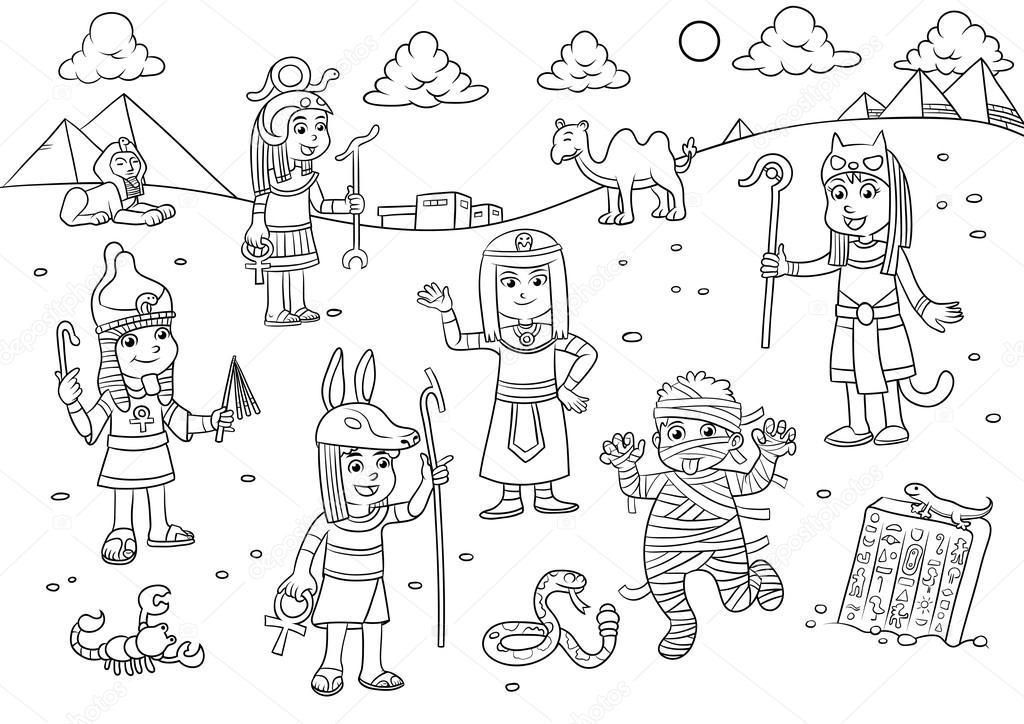Ilustración de dibujos animados de niño de Egipto para colorear