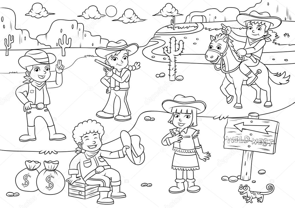 Imágenes: del viejo oeste para colorear | Ilustración de cowboy