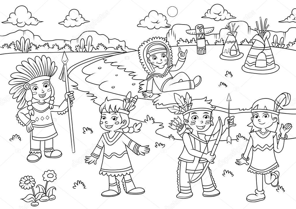 Dibujos: india para colorear | Ilustración de dibujos animados de ...