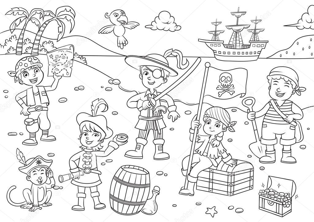 Ilustración de dibujos animados de niño de pirata para colorear ...