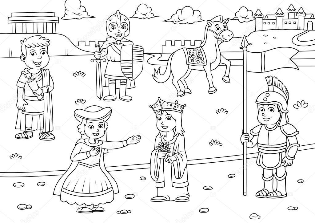 Ilustración de dibujos animados griego romano para colorear ...