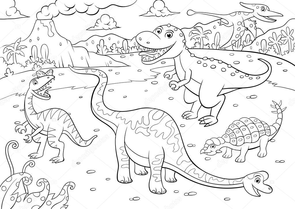 Ilustración de dibujos animados cute dinosaurios — Vector de stock ...