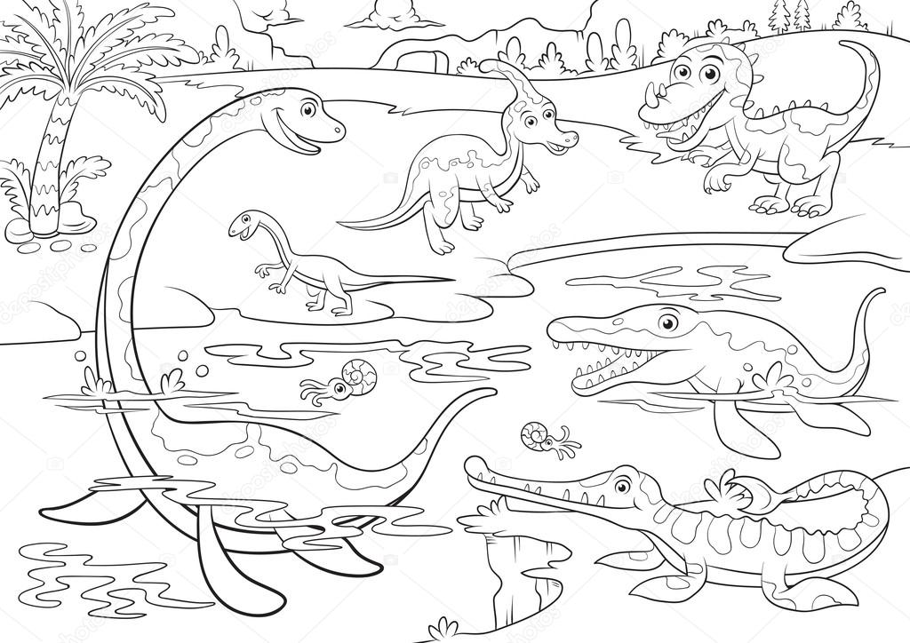 Ilustración de dinosaurios lindo personaje de dibujos animados para ...