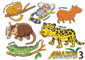 Set of Cute cartoon Animals and birds in the Amazon areas of Sou