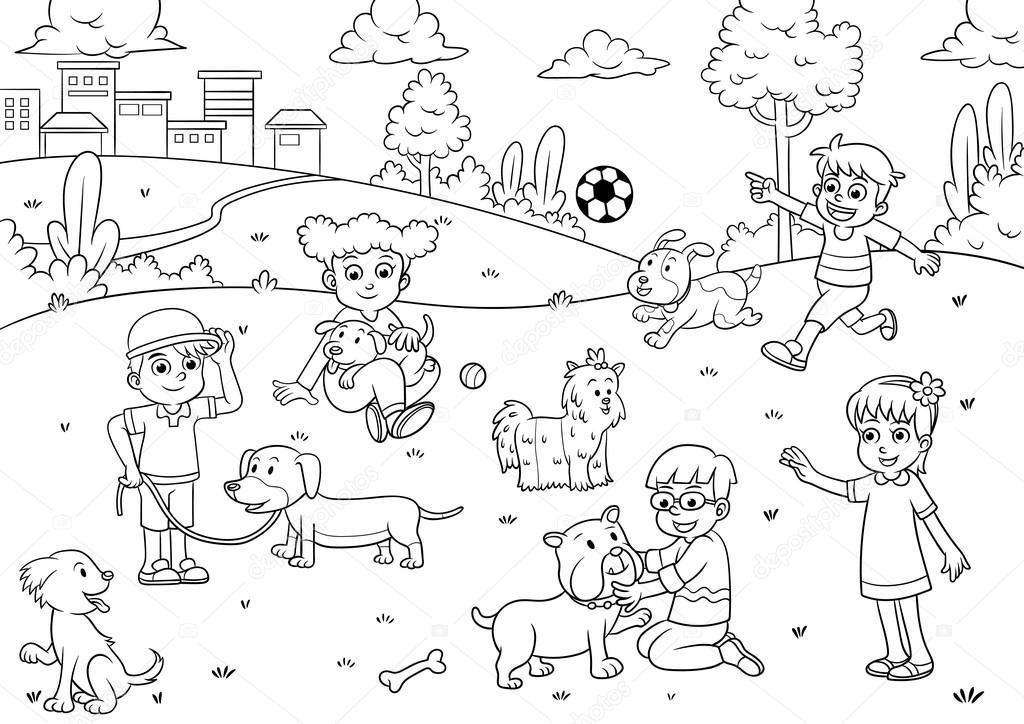 Imágenes Un Archivador Para Colorear Niño Y Mascota De Dibujos