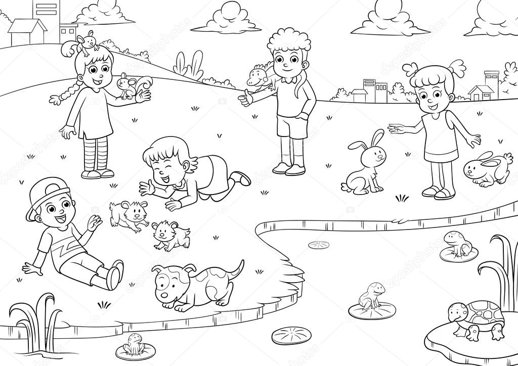 Child And Pet Cartoon For Coloring Stock Photo C Akarakingdoms