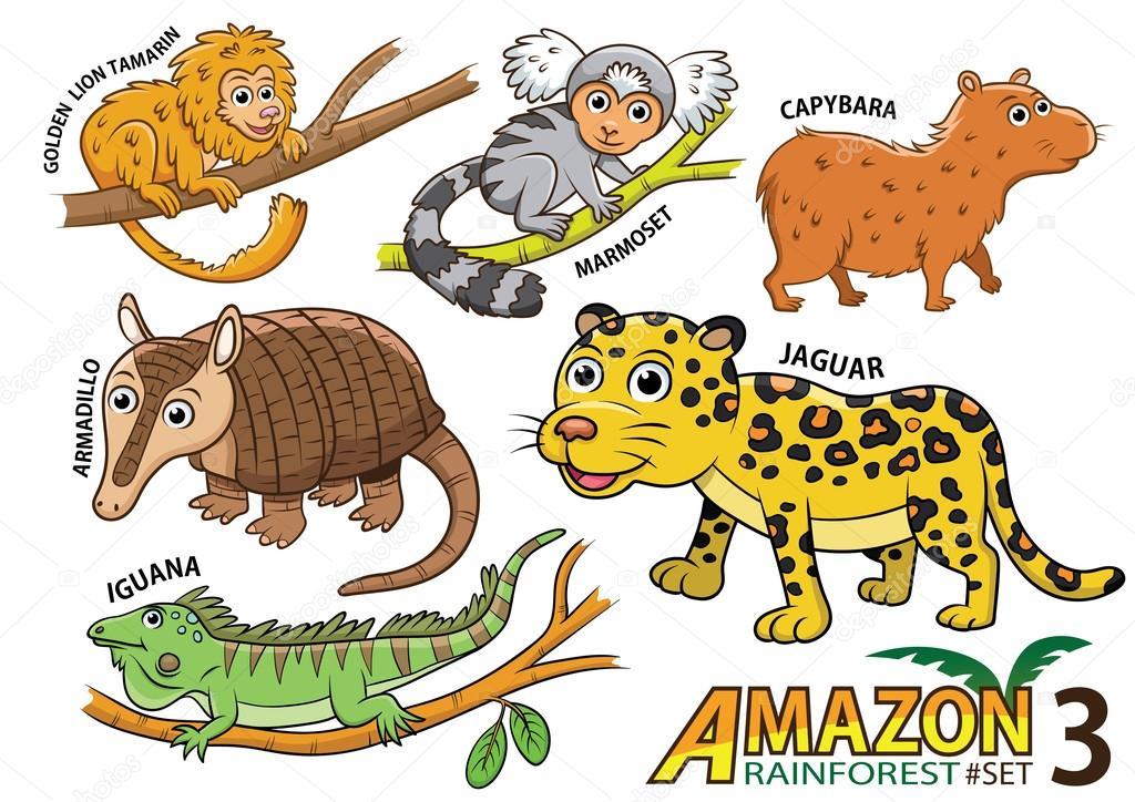 Conjunto de dibujos animados animales y aves en las áreas ...