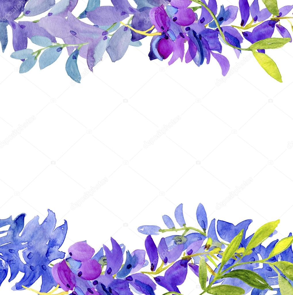 Watercolor Floral Border Stock Photo
