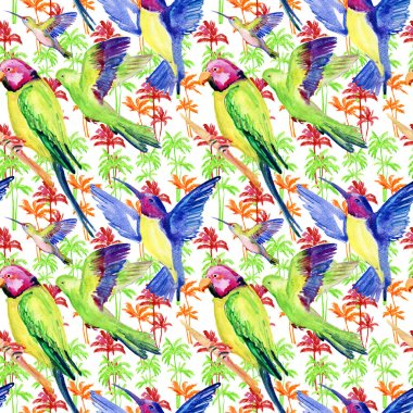 Watercolor palm trees and parrot