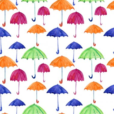 Seamless pattern with watercolor umbrellas