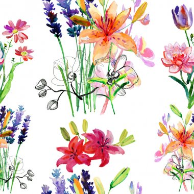 Watercolor backgrounds with flowers