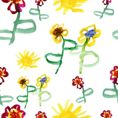 Colorful watercolor flowers seamless pattern