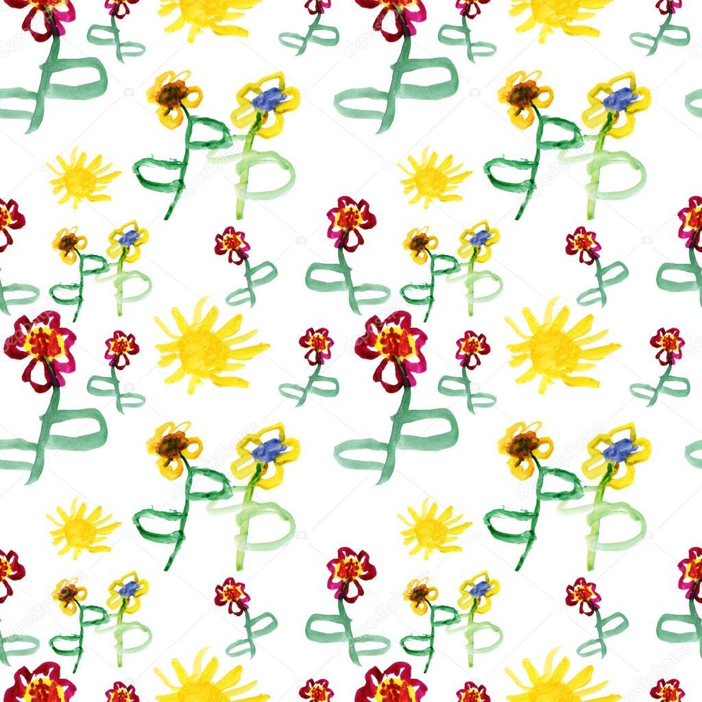 Sulu Boya şirin çiçekler Ve Güneş Stok Foto Olies 56486375