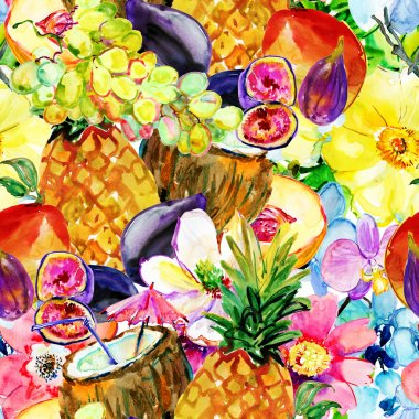 Pattern with coconut cocktail, fruits and tropical flowers.