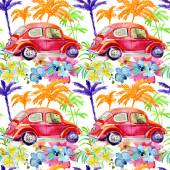 Cars with palm trees and flowers.