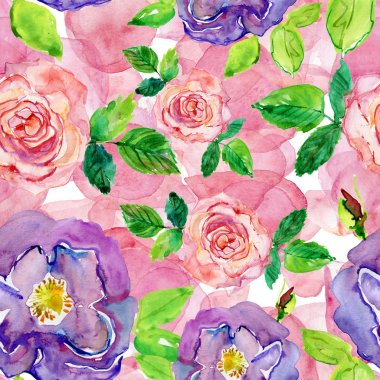 Colorful Roses Seamless Pattern. seamless watercolor background. stock vector