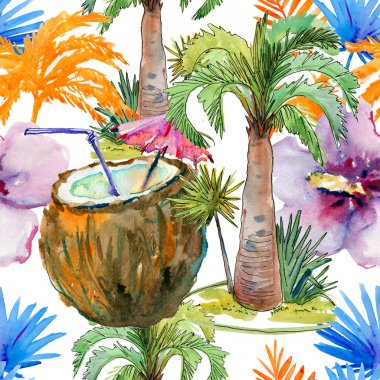 Tropical seamless pattern with coconut cocktail