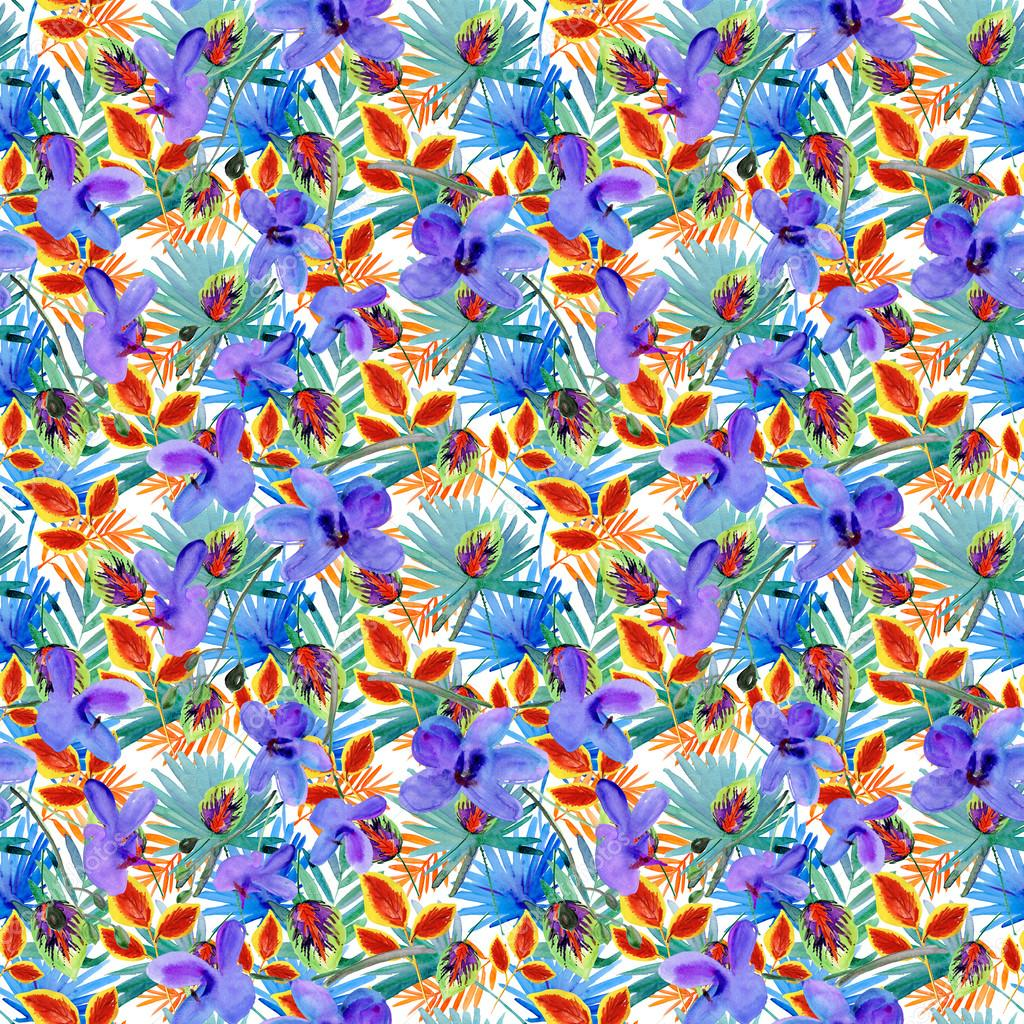 Seamless colorful tropical leaves