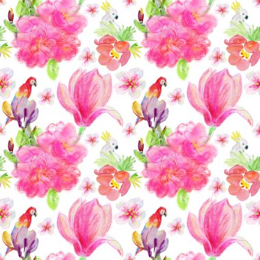 parrots and flowers background