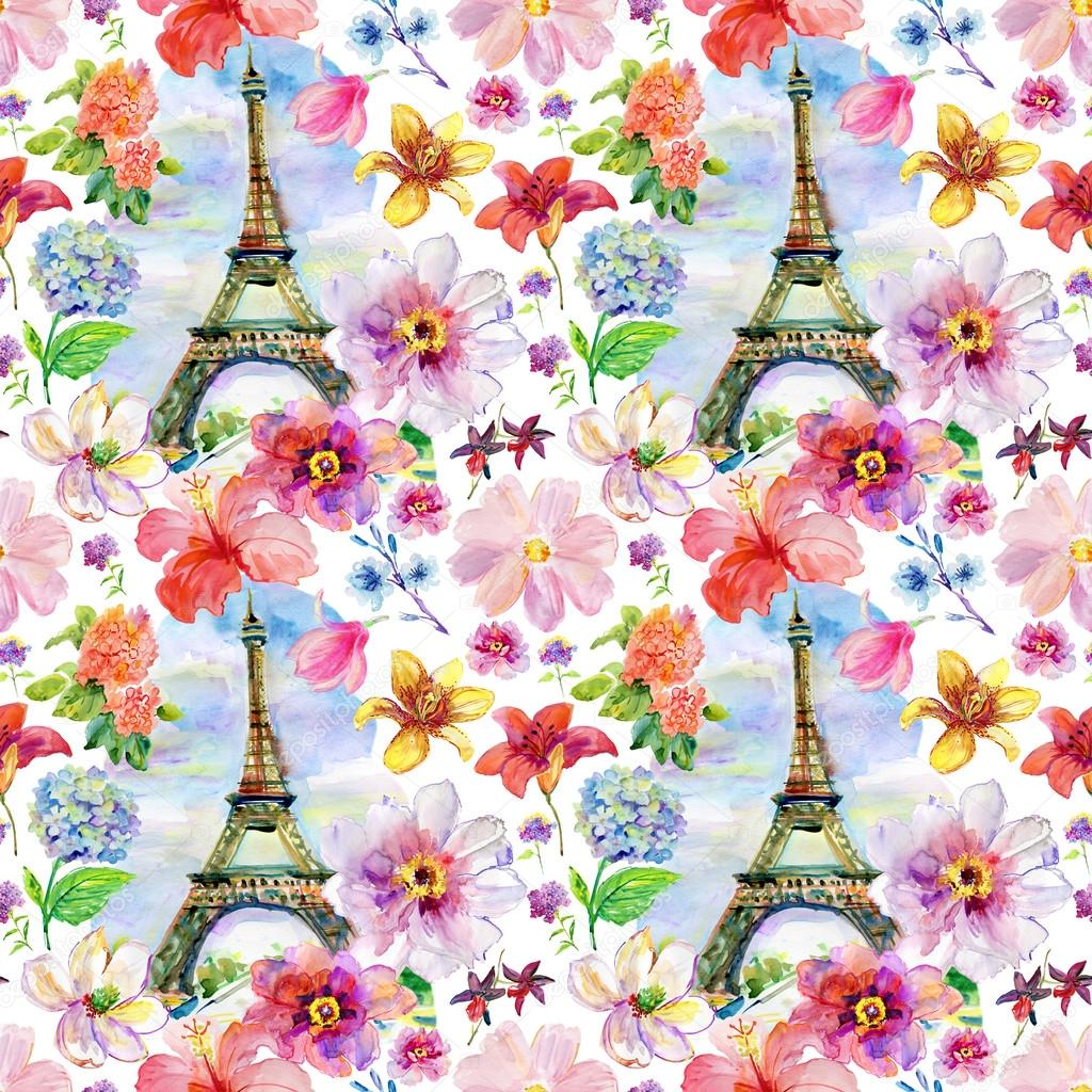 watercolor flowers and Eiffel tower