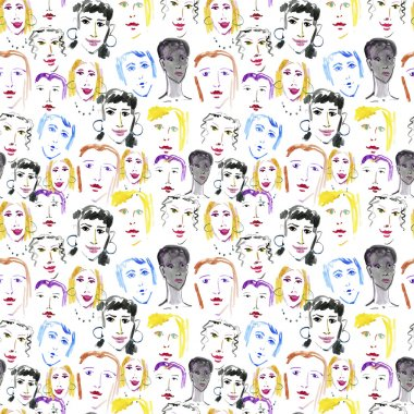 Seamless pattern of a crowd of different people