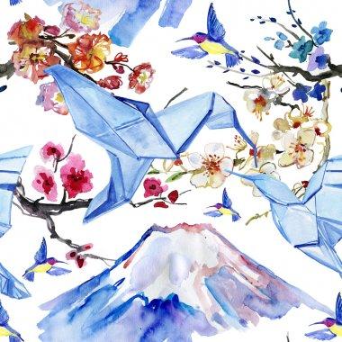 Mountain Fuji , birds and sakura branch