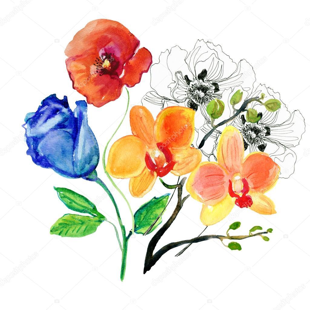 Fleurs Stylisées aquarelle de fleurs stylisées — photographie olies © #90504512
