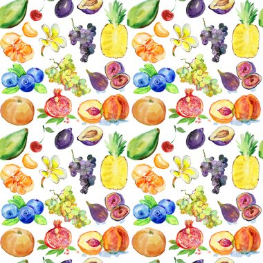 Colorful watercolor fruits pattern
