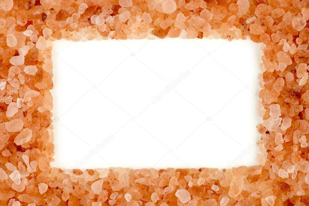 Stylish himalayan rock salt frame with aerial white copyspace ...