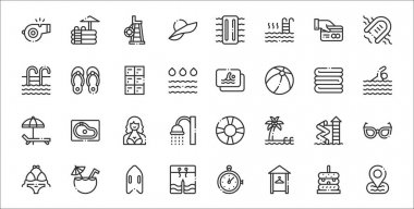 Set of 32 swimming pool thin outline icons such as placeholder, dressing room, swimwear, bikini, water slide, woman, swimmer, member card, flip flops icon