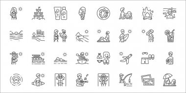 Set of 32 summer holiday thin outline icons such as sunbathing, fishing, guitar playing, sun, outfit, island, juice, sunbathing, beach icon
