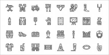 Set of 32 american football thin outline icons such as foam hand, punching bag, ticket, football jersey, stadium, timer, coach, rugby field, pants icon