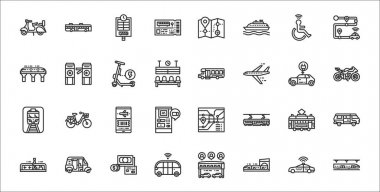 Set of 32 public transport thin outline icons such as subway, train, shuttle, walkway, tram, mobile, motorbike, minibus, gateway icon