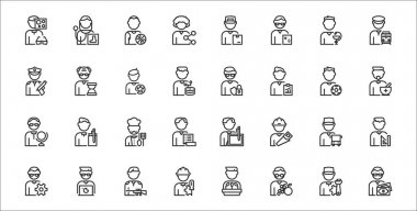 Set of 32 man worker avatar thin outline icons such as financial advisor, nutritionist, engineer, technician, bus driver, chef, therapist, hacker, historian icon