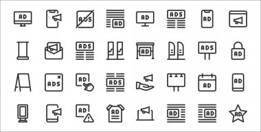 Set of 32 advertising thin outline icons such as ads, ads, poster, banner, ads, icon