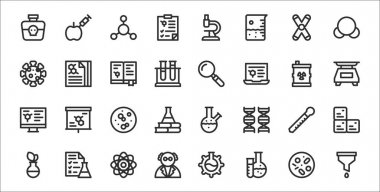 Set of 32 laboratory thin outline icons such as filter, laboratory, scientist, flask, eyedropper, germ, weight, magnifying glass, report icon