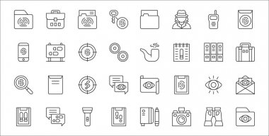 Set of 32 detective thin outline icons such as folder, camera, report, report, eye, detective, briefcase, smoking pipe, footprints icon