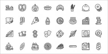 Set of 32 august bakery thin outline icons such as challah, baguette, pie, naan, focaccia, muffin, macaron, waffles, roll icon