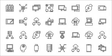 Set of 32 computers and network thin outline icons such as robotic arm, network, server, computer, cloud computing, synchronization, hacking, laptop, computer networks icon