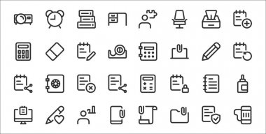 Set of 32 work office thin outline icons such as beer mug, folder, smartphone, notes, notebook, paper, notebook, safe box, eraser icon